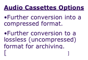 Audio Cassettes Options